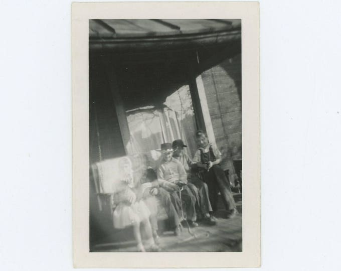 Ethereal Kids on Front Porch: Vintage Snapshot Photo (73553)
