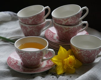 Tea Cup and Saucer, set of 6 - J. Broadhurst,  Ironstone, Constable Series. Made in England.