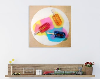 Popsicle Wall Art, 3D Wall Art, Living Room Wall Art, Kids Room Wall Decor, Wood Art Decor, Colorful Décor,