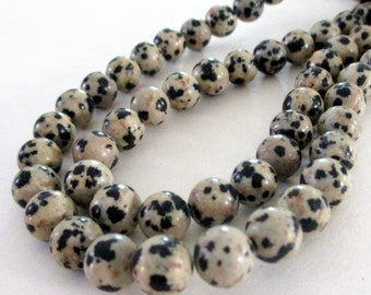 "Dalmatian Jasper Beads - Tan Black Smooth Round Jasper Beads - Natural Stone - Freckled Jasper - 8mm - 16"" - DIY Stacking Unisex Bracelet"