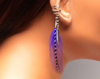 Handcrafted Bohemian Ear Cuff Wrap Purple and Grizzly Feathers Gift Under 10