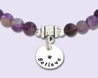 Amethyst Intention Bracelet - BELIEVE - Stretch Bead Bracelet - Mala Bracelet - Dog Agility Bracelet