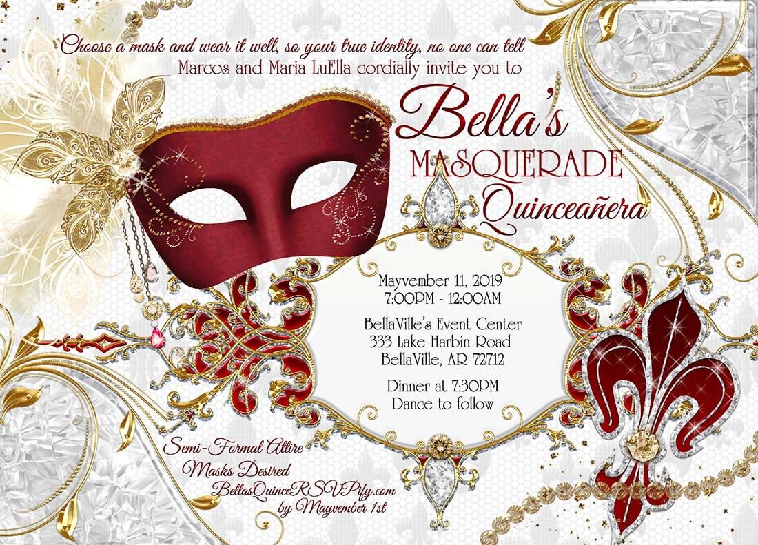 Masquerade Party Invitation Quinceanera Sweet 16 Masquerade