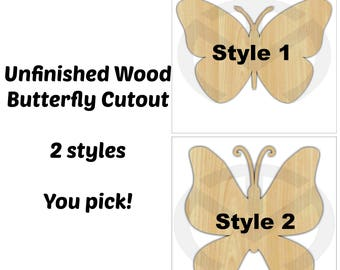 Butterfly -  01597- Unfinished Wood Laser Cutout, Door Hanger, Ready to Paint & Personalize, Spring, Summer, Various Sizes and Styles