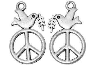 5 charm symbol of Peace and dove in silvered Metal 2.8 cm / peace / bird / Animal