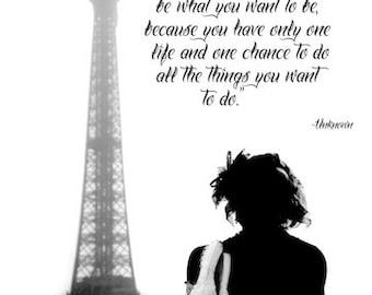 PARIS FRANCE SKATING Eiffel Tower Figure Skating Ice Skating Dream Quote Print