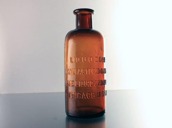 Antique Bottle, Liquozone, The Liquid Ozone Company,  Circa 1800s, Brown, Embossed, Quack Medicine Bottle, Patent Medicine