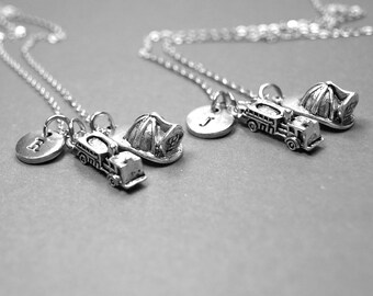 Best friend necklace, fire truck necklace, firefighter necklace, fireman helmet necklace, BFF necklace, personalized necklace, initial charm