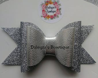 Siver Glitter and Leather Bow