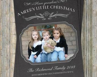 Simple Chalkboard Christmas Photo Card, multiple photos digital printable file