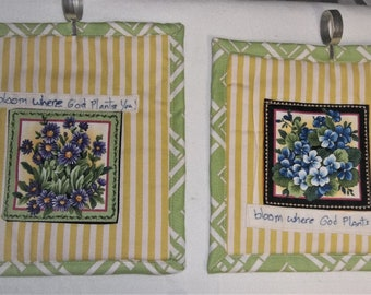 "2 Quilted Wall Hangings Florals ""Bloom where God plants you"""