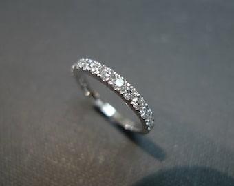 Anniversary Diamond Wedding Ring in 14K White Gold, Diamond Wedding Band, Diamond Engagement Ring, Diamond Ring, Wedding Gift, Personalized