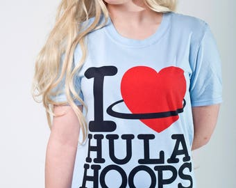 I Love Hula Hooping light blue Top Heart Hula hooping
