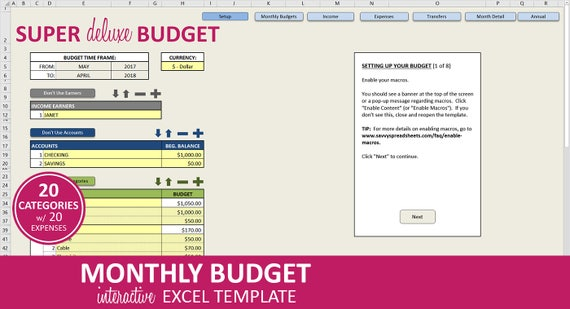 Super Deluxe Budget Monthly Budget Planner Excel Template