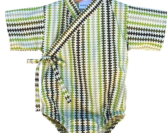 Baby Bodysuit Kimono - SADDLE BLANKET - Japanese kimono onesie for baby and toddler