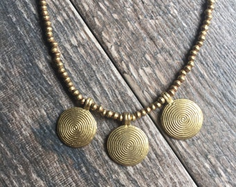 Tribal Necklace,Tribal Spiral Pendant Necklace Gold,Tribal Layering,Spiral Pendant,Indian Beaded Necklace,Gold Spiral,Festival Necklace
