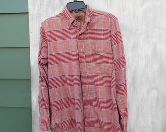 Flannel Men's Shirt Button Down Long Sleeve  Small Red Plaid Flannel Boston Traders Red Blue Soft Vintage Flannel Shirt / Flannel Shirt