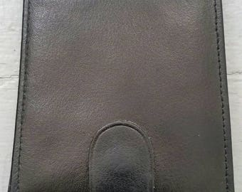 Vintage black leather folding wallet. Classic black leather wallet. Black leather slim fold wallet.