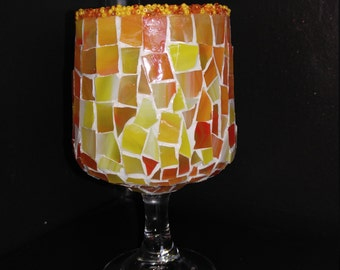 Stemmed Stained Glass Mosaic Candle Holder in Shades of Peach, Orange and Yellow, WONDERFUL Gift Idea