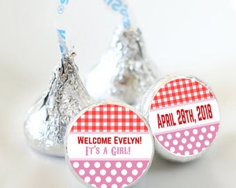 108 Burlap and Lace Baby Shower Hershey Kiss® Stickers - Hershey Kiss Stickers- Baby Shower Kiss Labels - Hershey Kiss Seals