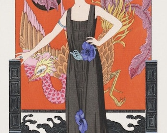 ART DECO PRINT of Flapper and Phoenix by Georges Barbier