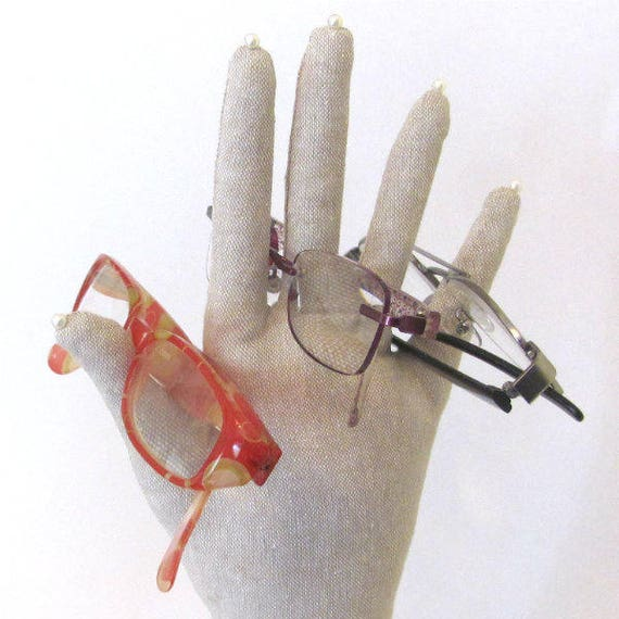 TALL Linen HAND-Stand ~ Glasses Necklace Display ~ Ready to Ship