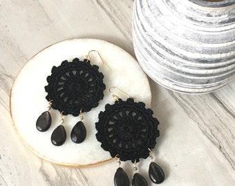 Black handmade crochet statement earrings, hypersthene semi-precious