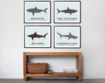 Shark decor, Prints for Kids Room - Set of four Shark prints, Shark wall art, shark toddler room, beach decor, Minimalist Wall decor