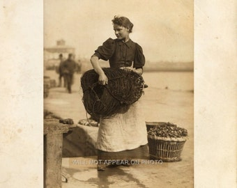 Early 1900's Beautiful Young Woman working by the Sea  8x10 Photograph Reprint 087
