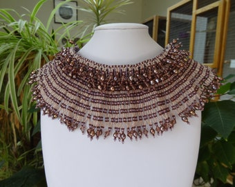 Netted Stitch, Chocher with Egyptian Collar in Plum with Crystals and Plum Fresh Water Pearls.