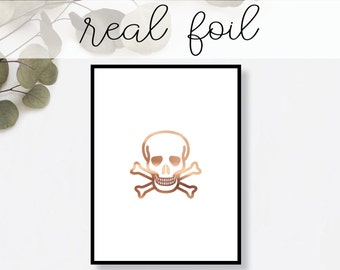 Skull and Crossbones Print // Real Gold Foil // Minimal // Gold Foil Art Print // Home Decor // Modern Office Print // Halloween // Fashion