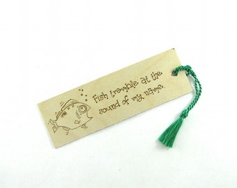 Wooden bookmark - Creative Wood Pyrography - Fishing Funny Quote
