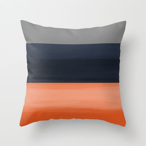 throw pillow cover navy grey orange ombre accent pillow cover. Black Bedroom Furniture Sets. Home Design Ideas