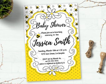 Bee Invitation, Bee Baby Shower Invitation, Mommy To Bee Invitation, Bee Theme Invite, Bumble Bee, Printable Invitation, Party Invitation