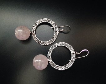 Quartz Earrings, Rose Quartz Jewelry, Rose Quartz Silver Circle Swirl Earrings, Rose Quartz Silver Earrings, Pink Earrings, Pink Jewelry