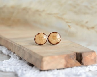 Dot stud earrings, tree branch earrings, sterling silver post earrings, wood gift idea, natural pure nature jewelry by MyPieceOfWood