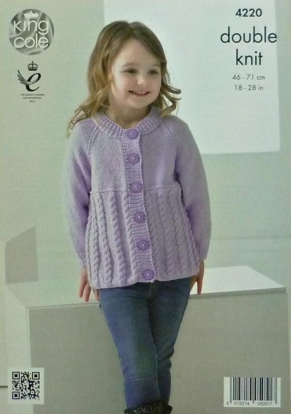 Girls Knitting Pattern K4220 Childrens Long Sleeve Round Neck