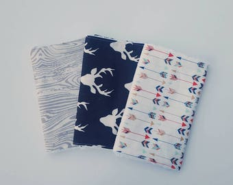 Woodland Baby Boy Burp Cloth Set- Burpcloths, Navy Deer, CPSIA compliant, Baby Boy Gift, baby shower gift, burp rag, modern baby gift