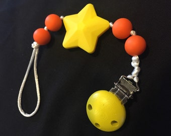 Pacifier clip / Clip-teething toys - yellow star