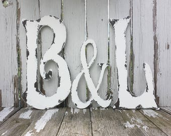 WOODEN LETTERS and Ampersand Symbol | Rustic Wooden Wedding Letters | Painted Letters | Letters Made of Wood | Wood Wall Letters |Distressed