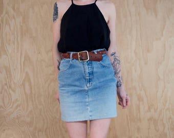 Denim Pencil Skirt Vintage 90's Pockets Ombre Acid Wash Small Mini Skirt