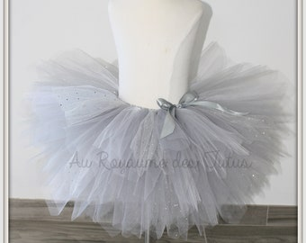 Grey tulle skirt Tutu skirt has sequins for ceremony