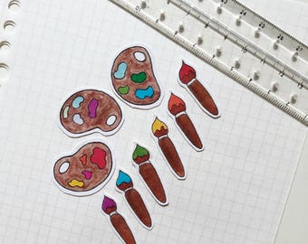 Paint brush and palette set stickers