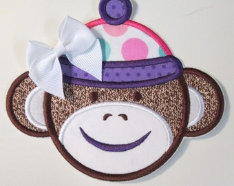 Sock Monkey Girl - Iron On or Sew On Embroidered Custom Made Applique