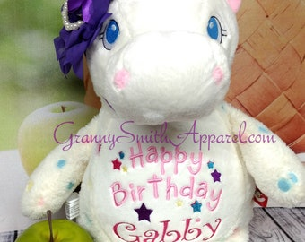 White Spotted Unicorn plush custom animal.  Embroidered, personalized tummy. Stuffie. Memorial, Newborn, or a gift for someone left behind.