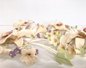 Handmade Vintage Cake Topper, Vintage Weddingl, cream, purple, green, fondant flowers, sugar flowers,