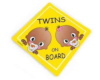 Personalized twins brother and sister on board yellow car windscreen sticker - CD102S