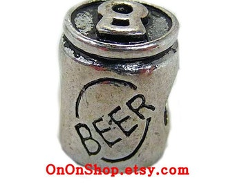 Beer Can Charm Bead, Hash Necklace HHH ON-ON, Antique Silver Metal, .5 inch tall (13mm) European beer charm, large hole charm
