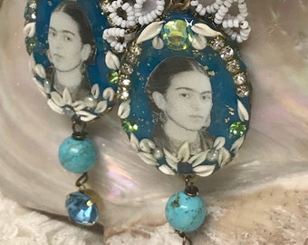 Lilygrace Frida Teal Cameo Earrings with Vintage Rhinestones and Turquoise Beads