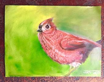 Red Bird. Original oil painting (not a print).